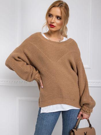 BY O LA LA Jasnobrązowy sweter damski