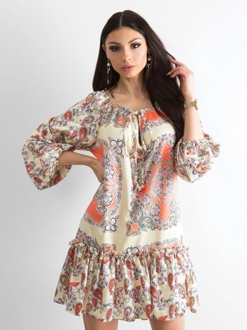 BY O LA LA Jasnożółta sukienka we wzory