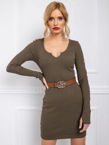 BY O LA LA Khaki sukienka w prążek
