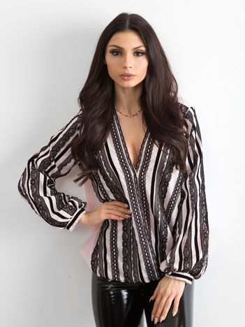 cf86828676 BY O LA LA Różowo-czarna bluzka z koronką