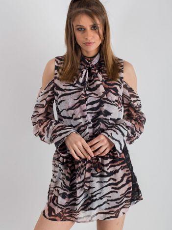 BY O LA LA Różowo-czarna sukienka w tygrysie paski