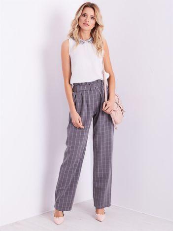 BY O LA LA Szare eleganckie spodnie w kratę