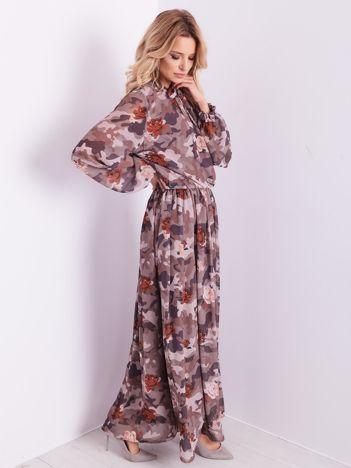 BY O LA LA Wzorzysta brązowa sukienka maxi