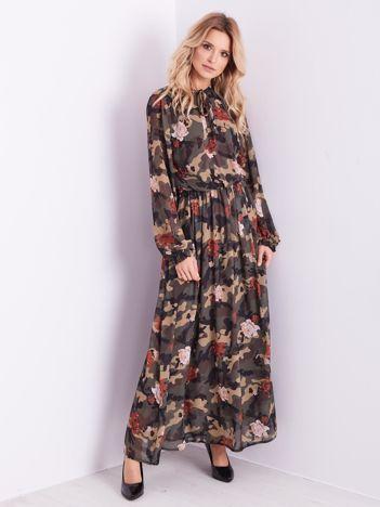 BY O LA LA Wzorzysta khaki sukienka maxi
