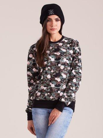 Bawełniana bluza damska we wzory khaki