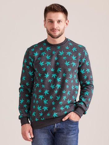 Bawełniana bluza męska z nadrukiem ciemnoszara