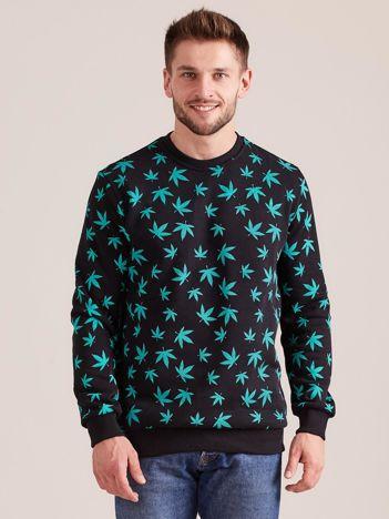 Bawełniana bluza męska z nadrukiem czarna