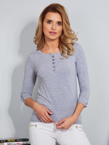 Bawełniana bluzka z guzikami jasnoszara