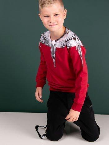 Bawełniana bordowa bluza dziecięca z nadrukiem skrzydeł