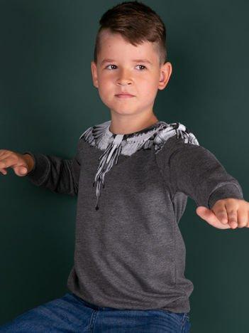 Bawełniana ciemnoszara bluza dla chłopca z nadrukiem skrzydeł