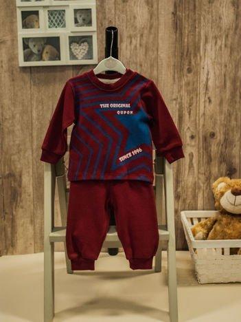 Bawełniana dwuczęściowa piżamka chłopięca bordowa