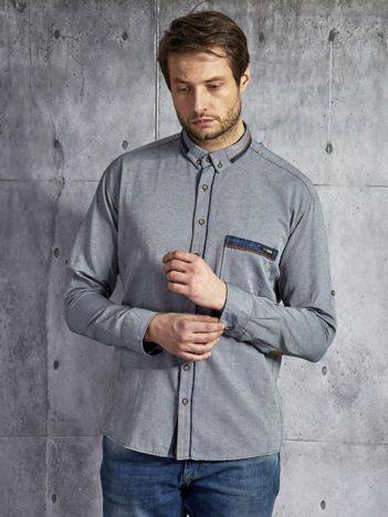 Bawełniana gładka koszula męska szaro-niebieska PLUS SIZE