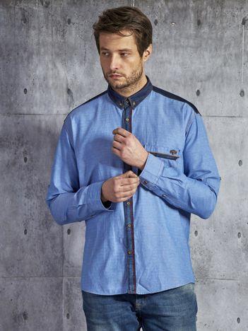 Bawełniana gładka koszula męska z kieszenią niebieska PLUS SIZE