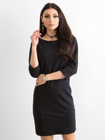 Bawełniana gładka sukienka oversize czarna