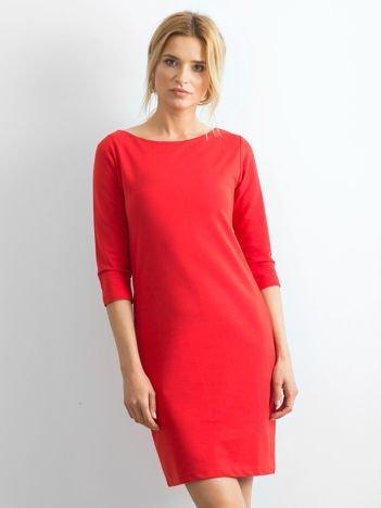 Bawełniana gładka sukienka oversize czerwona