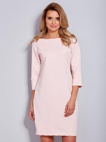 Bawełniana gładka sukienka oversize jasnoróżowa