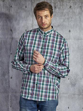 Bawełniana koszula męska w kratę biało-zielona PLUS SIZE