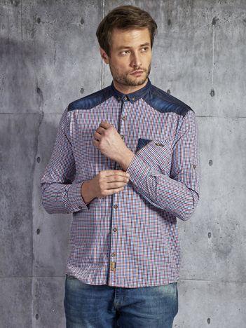 Bawełniana koszula męska w kratkę wielokolorowa PLUS SIZE