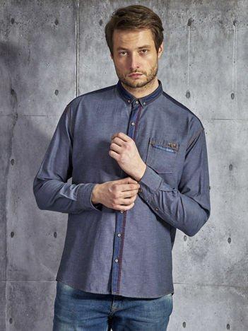 Bawełniana koszula męska z ozdobną listwą granatowa PLUS SIZE