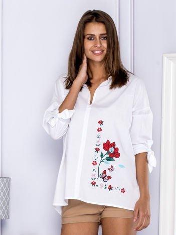 Bawełniana koszula oversize z kwiatową aplikacją biała