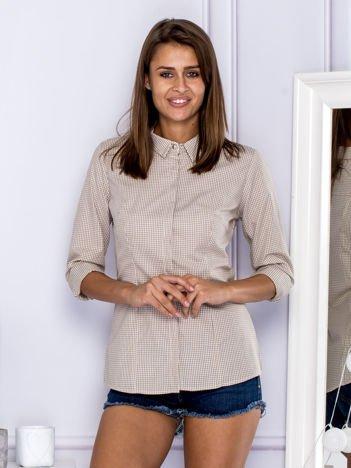 Bawełniana koszula w kratkę beżowa