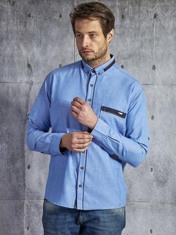 Bawełniana męska koszula z kieszenią niebieska PLUS SIZE