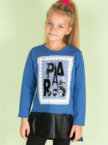 Bawełniana niebieska tunika dziecięca PARIS z aplikacją