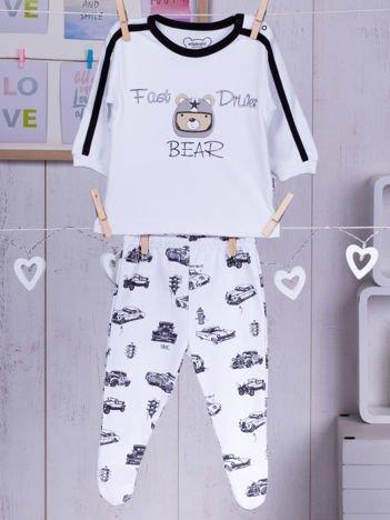 Bawełniana piżamka dla chłopca w samochody biało-czarna