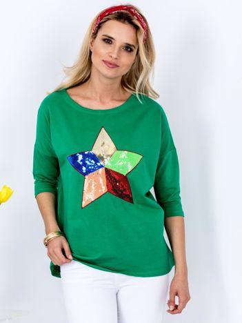 Bawełniana zielona bluzka oversize z cekinową gwiazdą