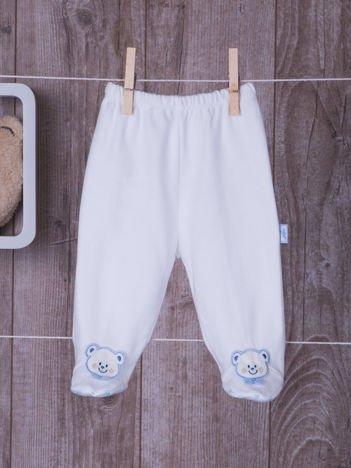 Bawełniane antypoślizgowe śpioszki niemowlęce z misiem białe