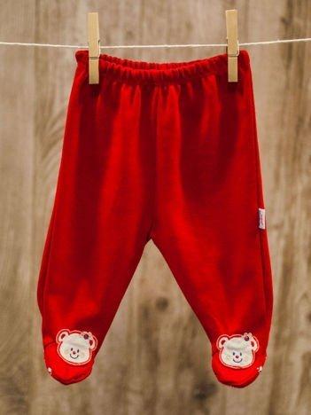 Bawełniane antypoślizgowe śpioszki niemowlęce z misiem czerwone