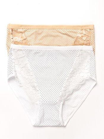 Bawełniane figi damskie high waist w kropki 2-pak biało-beżowe
