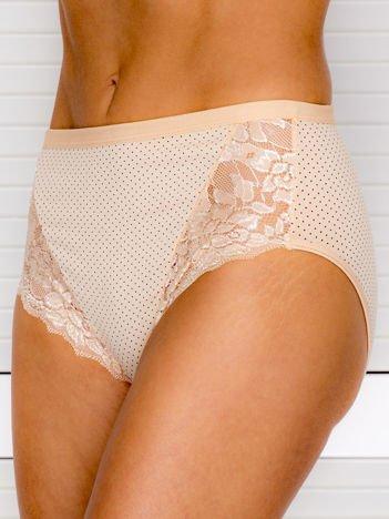Bawełniane figi damskie high waist w kropki beżowe