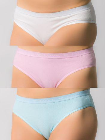 Bawełniane majtki damskie,3 szt.: różowy, biały, błękitny