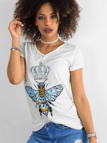 Bawełniany t-shirt z nadrukiem miętowy