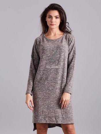 Beżowa asymetryczna sukienka z aplikacją