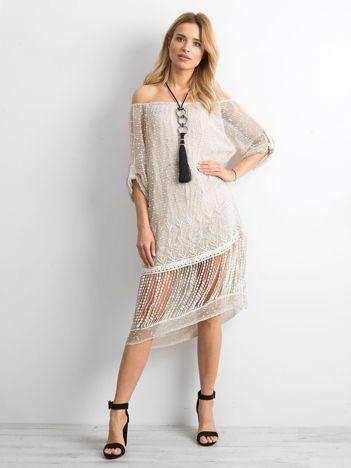 Beżowa ażurowa sukienka