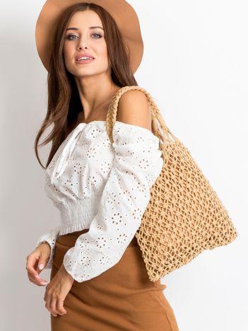 Beżowa ażurowa torba damska
