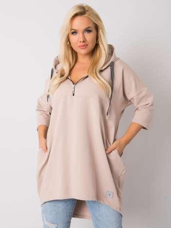 Beżowa bawełniana bluza plus size Adreana