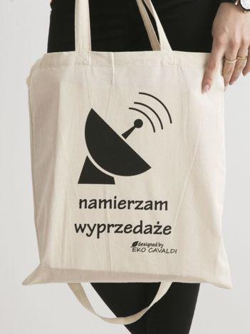 Beżowa bawełniana torba ekologiczna z napisem