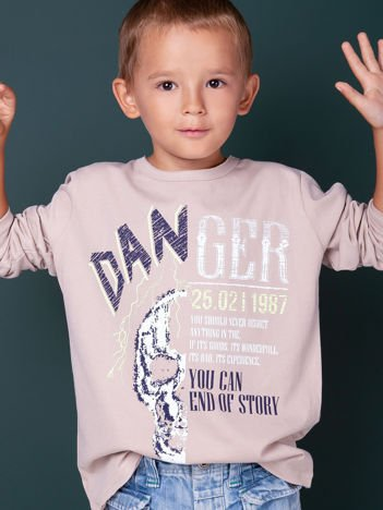 Beżowa bluzka dla chłopca z nadrukiem