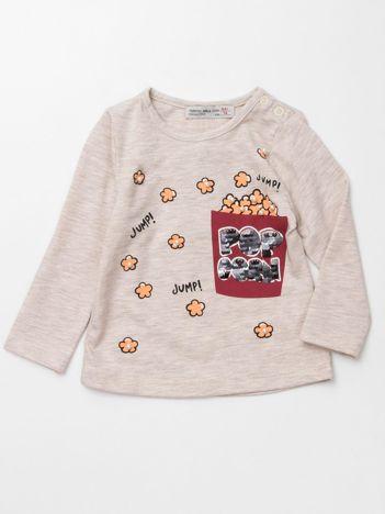 Beżowa bluzka dla dziewczynki z cekinami i perełkami
