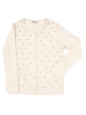 Beżowa bluzka dla dziewczynki z perełkami