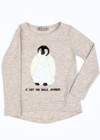 Beżowa bluzka dla dziewczynki z pingwinem