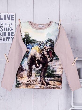 Beżowa bluzka dziecięca z nadrukiem Tyranozaura