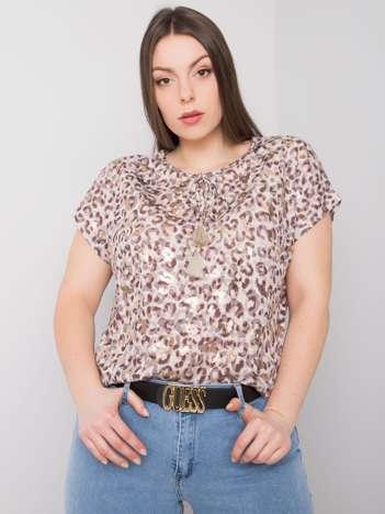 Beżowa bluzka plus size w cętki Yvonne