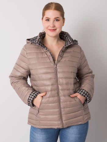 Beżowa damska kurtka dwustronna plus size Jaime