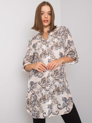Beżowa długa koszula we wzory Mihika RUE PARIS