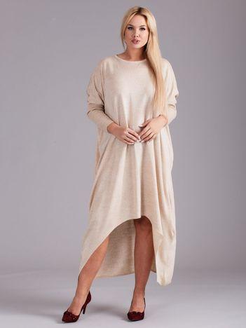 Beżowa dzianinowa asymetryczna sukienka PLUS SIZE