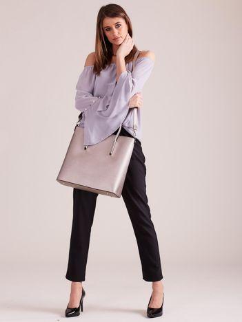 Beżowa elegancka torba z metalicznym połyskiem